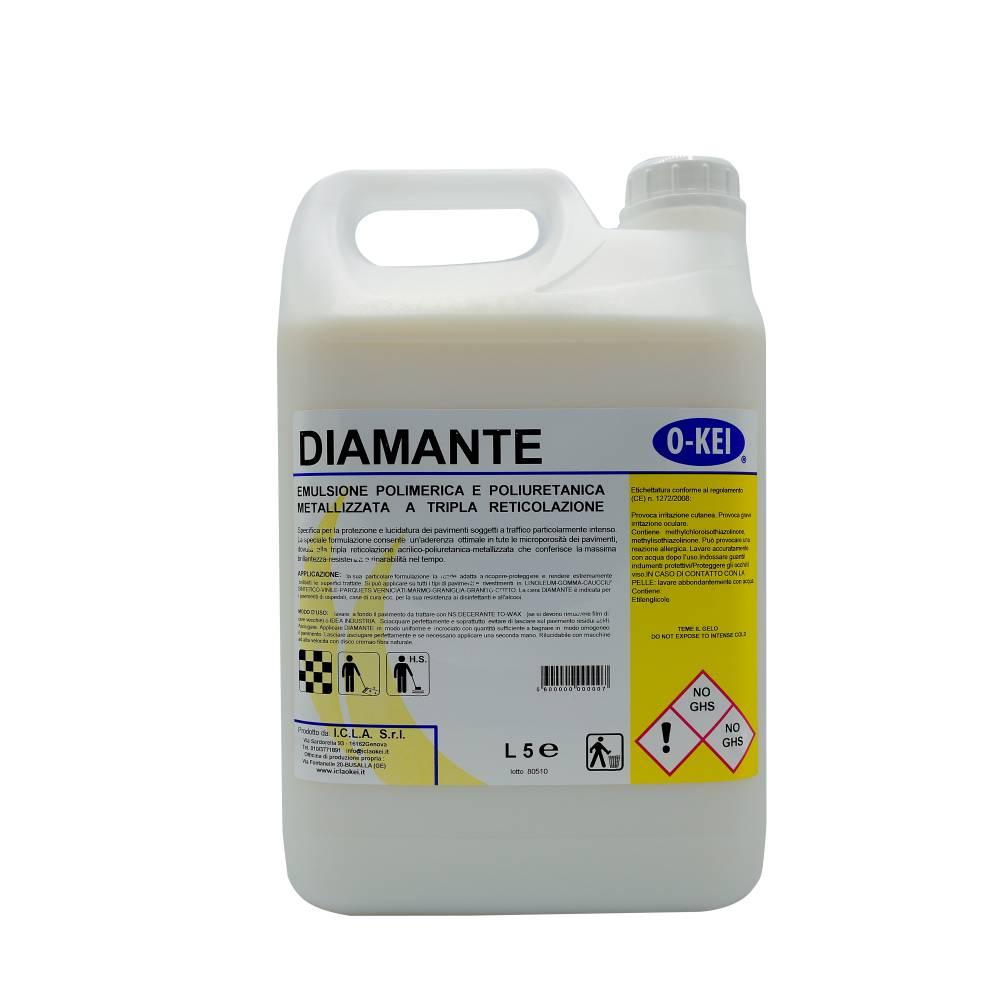 I.C.L.A. OKEI - CERA DIAMANTE - Cere per pavimenti  5kg - Emulsione polimerica e poliuretanica metallizzata a tripla reticolazione per pavimenti. Protegge e rendere estremamente brillanti pavimenti e rivestimenti in linoleum