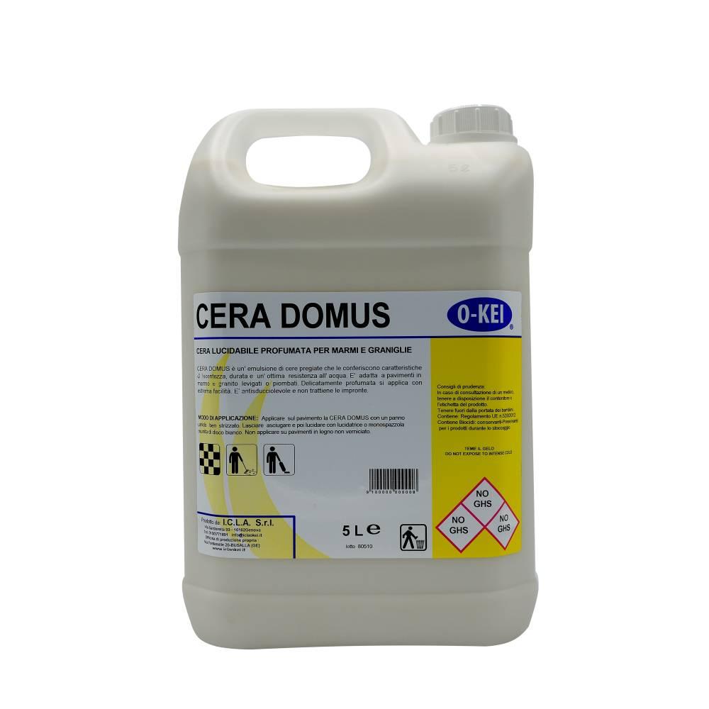 I.C.L.A. OKEI - CERA DOMUS - Cere per pavimenti  5kg - Emulsione acquosa di cere pregiate che le conferiscono caratteristiche di lucentezza
