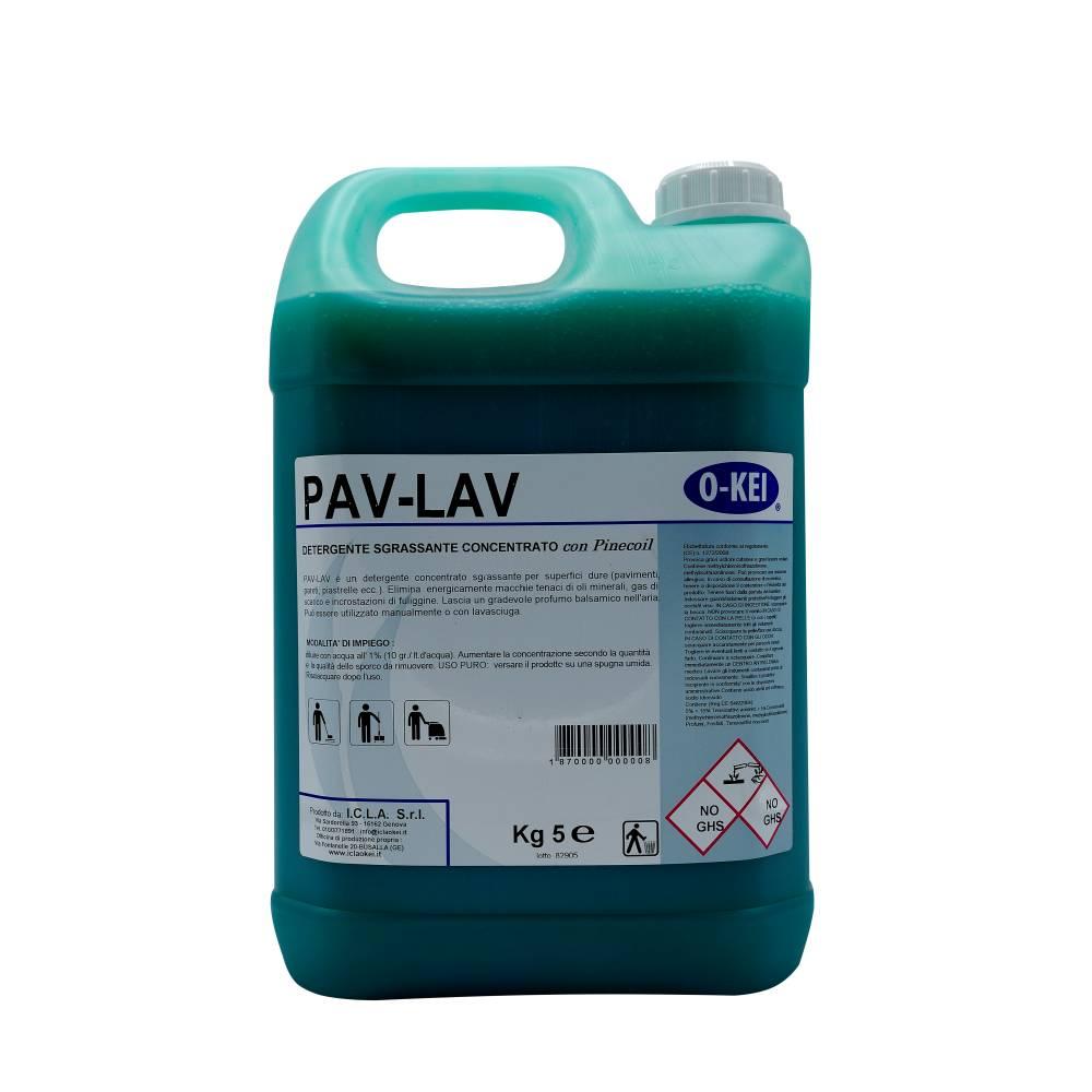 I.C.L.A. OKEI - PAV LAV VERDE - Pulizia di fondo  5kg - Detergente concentrato sgrassante per superfici dure con Pinecoiol. Elimina  energicamente macchie tenaci di oli minerali