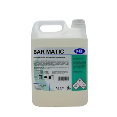I.C.L.A. OKEI - BARMATIC - Detergenti per stoviglie  5kg - Detergente liquido speciale concentrato per macchine lavastoviglie. Utilizza una tecnologia che combina detergente e brillantante in un unico prodotto. Grazie alla sua formulazione innovativa assicura un ottimo potere sgrassante