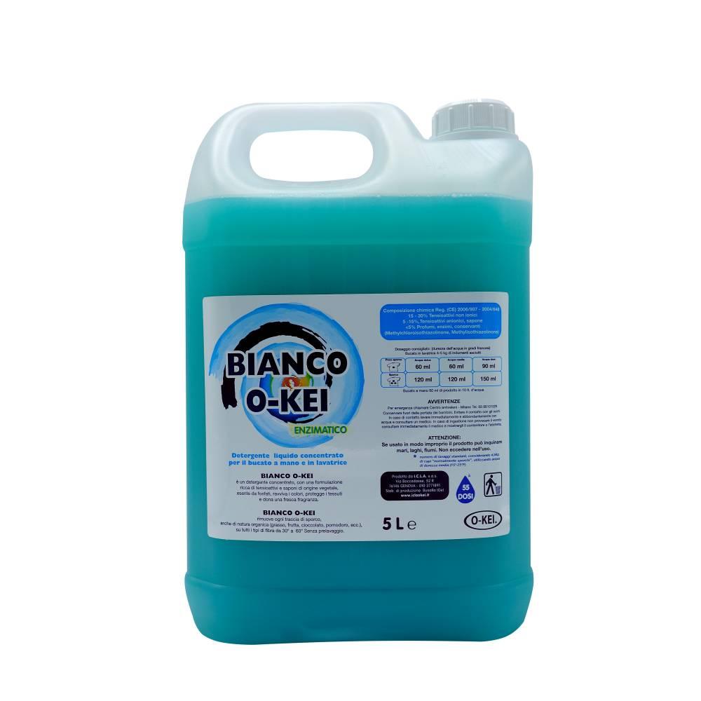 I.C.L.A. OKEI - BIANCO OKEI ENZIMATICO - Detergenti per bucato  5kg - Detergente enzimatico liquido concentrato per il bucato a mano e in lavatrice. Grazie agli enzimi rimuove con più efficacia macchie di origine organica. Utilizzabile su tutti i tipi di tessuto