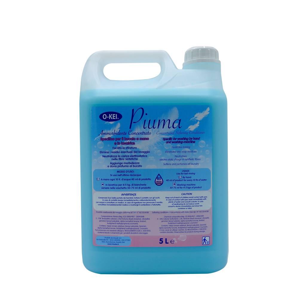 I.C.L.A. OKEI - AMMORBIDENTE PIUMA AZZURRO - Detergenti per bucato  5kg - Additivo concentrato specifico per il bucato a mano e in lavatrice. Rende più facile la stiratura