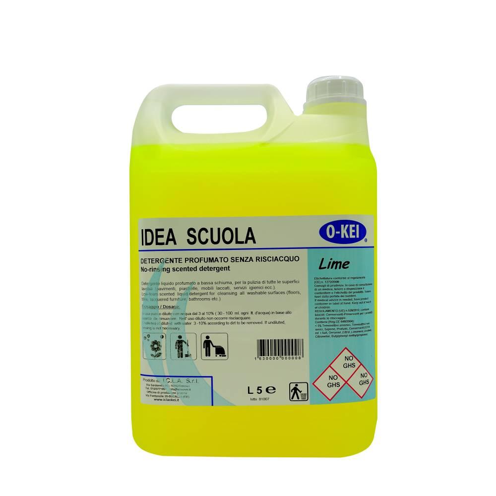 I.C.L.A. OKEI - IDEA SCUOLA LIME - Detergenti manutentori  5kg - Detergente liquido a bassa schiuma delicatamente profumato per la manutenzione ordinaria di tutte le superfici dure. Non intacca i pavimenti trattati con cere. Lascia nell'ambiente una gradevole nota agrumata.