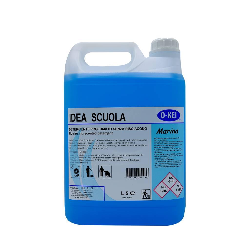 I.C.L.A. OKEI - IDEA SCUOLA MARINA - Detergenti manutentori  5kg - Detergente liquido a bassa schiuma delicatamente profumato per la manutenzione ordinaria di tutte le superfici dure. Non intacca i pavimenti trattati con cere. Lascia nell'ambiente una gradevole nota fresca di pulito.