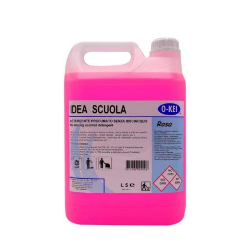 I.C.L.A. OKEI - IDEA SCUOLA ROSA - Detergenti manutentori  5kg - Detergente liquido a bassa schiuma delicatamente profumato per la manutenzione ordinaria di tutte le superfici dure. Non intacca i pavimenti trattati con cere. Lascia nell'ambiente una gradevole nota fiorita.