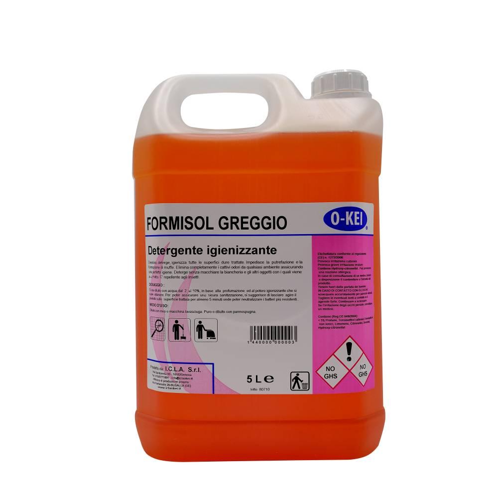 I.C.L.A. OKEI - FORMISOL GREGGIO - Detergenti igienizzanti  5kg - Detergente sanificante profumato attivo nei confronti di microrganismi di vario tipo: batteri Gram+ e Gram-