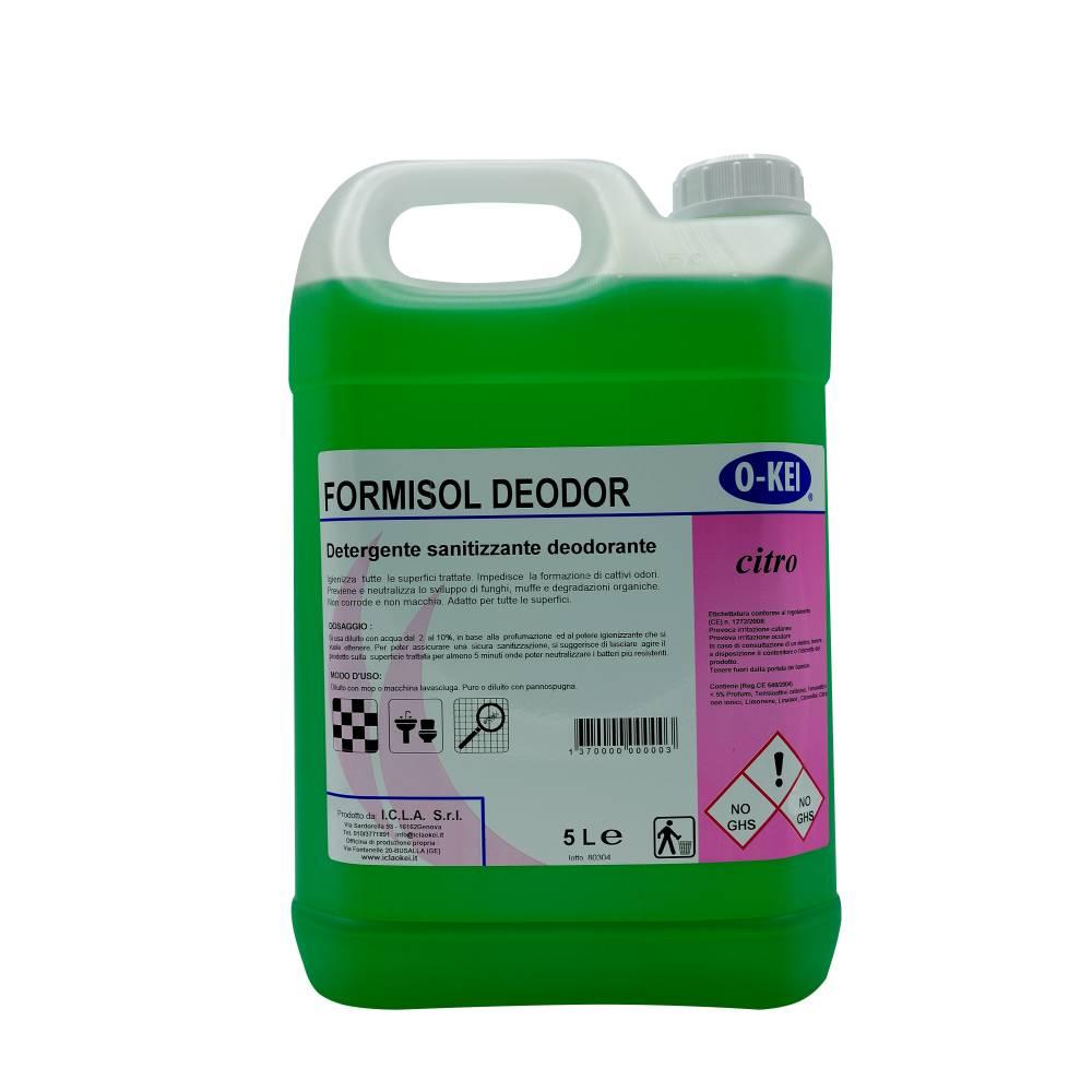 I.C.L.A. OKEI - FORMISOL DEODOR CITRO - Detergenti igienizzanti  5kg - Detergente sanificante profumato attivo nei confronti di microrganismi di vario tipo: batteri Gram+ e Gram-