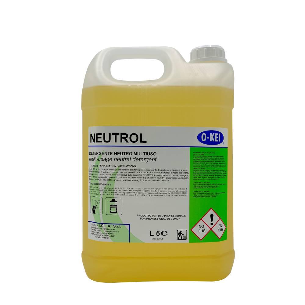 I.C.L.A. OKEI - NEUTROL - Sgrassatori e speciali  5kg - Detergente neutro concentrato con forte potere sgrassante. Indicato per la pulizia dei vetri con la stecca