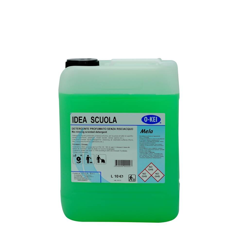 I.C.L.A. OKEI - IDEA SCUOLA MELA - Detergenti manutentori  10kg - Detergente liquido a bassa schiuma delicatamente profumato per la manutenzione ordinaria di tutte le superfici dure. Non intacca i pavimenti trattati con cere. Lascia nell'ambiente una gradevole nota fruttata.