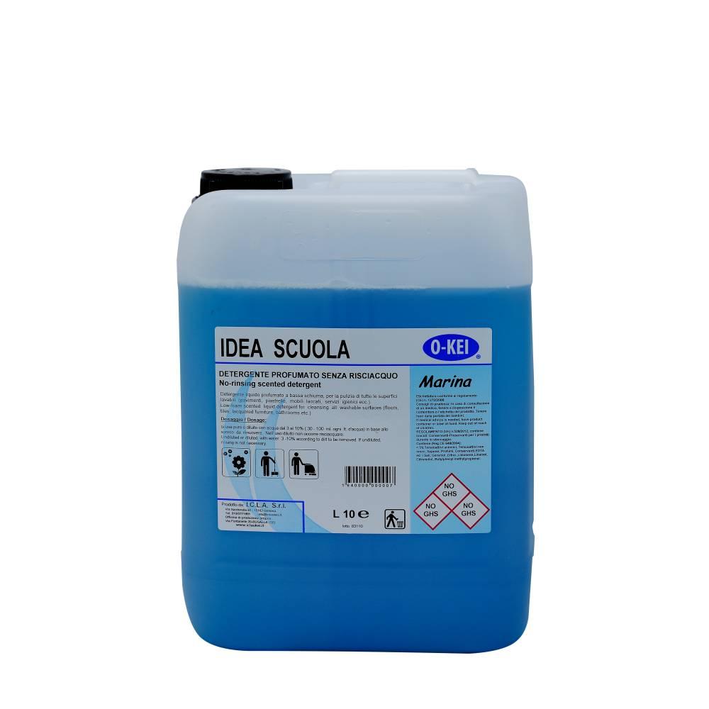 I.C.L.A. OKEI - IDEA SCUOLA MARINA - Detergenti manutentori  10kg - Detergente liquido a bassa schiuma delicatamente profumato per la manutenzione ordinaria di tutte le superfici dure. Non intacca i pavimenti trattati con cere. Lascia nell'ambiente una gradevole nota fresca di pulito.