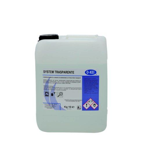 I.C.L.A. OKEI - SYSTEM TRASPARENTE - Detergenti per bucato  10kg - Additivo candeggiante a base di acqua ossigenata per biancheria con effetto di sbianca per la sanitizazzione dei tessuti a partire da 20 °C. Da utilizzarsi con appositi impianti automatici di dosaggio.