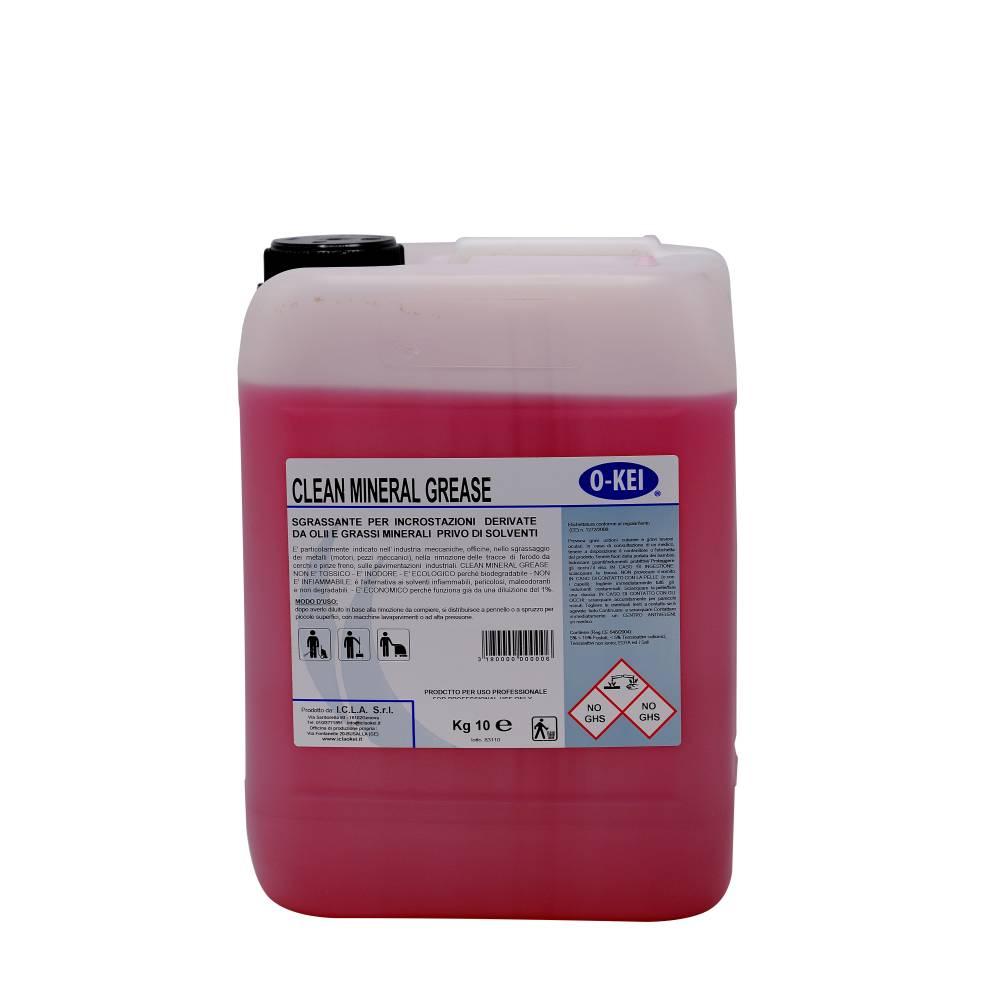 I.C.L.A. OKEI - CLEAN MINERAL GREASE - Pulizia di fondo  10kg - Detergente sgrassatore specifico per sporco e incrostazioni da olii