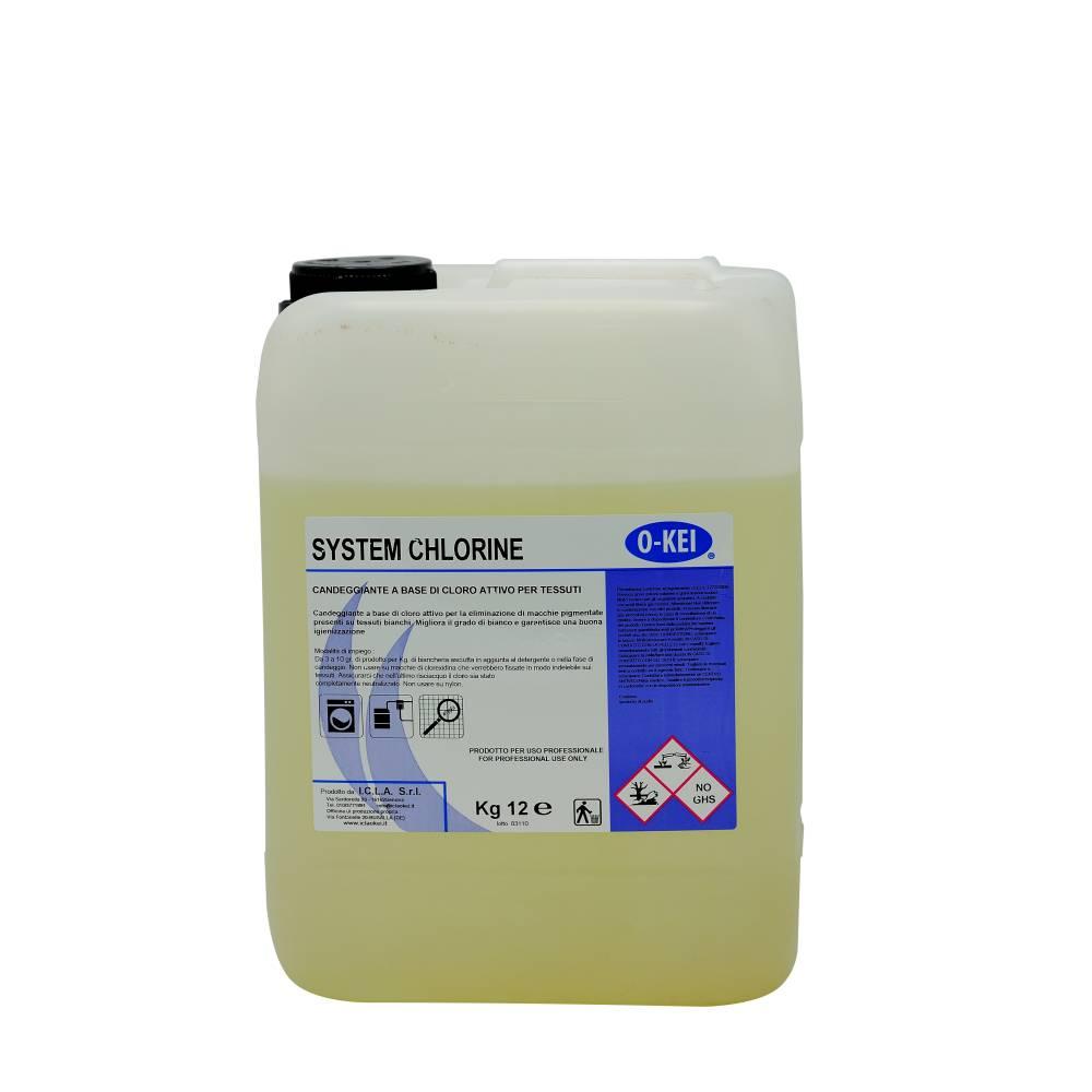 I.C.L.A. OKEI - SYSTEM CHLORINE - Detergenti per bucato  12kg - Additivo candeggiante sanitizzante a base di ipoclorito di sodio per potenziare la rimozione delle macchie pigmentate sulla biancheria bianca. Da utilizzarsi con appositi impianti automatici di dosaggio.